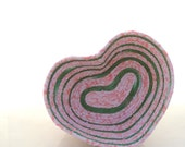 Small Pink and Green Stripe Heart Bowl