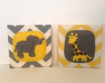 Elephant and Giraffe Grey and Yellow Art Block Set