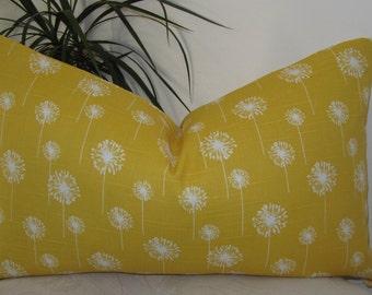 "Small Dandelion Slub White/Yellow Pillow Cover 18""x18""- Lumbar Pillow Cover 12""x20"" or 12""x18"" - Invisible Zipper"