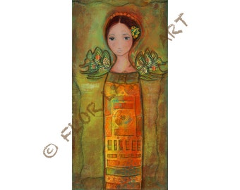Tall Angel -  Giclee print mounted on Wood (5 x 10 inches) Folk Art  by FLOR LARIOS