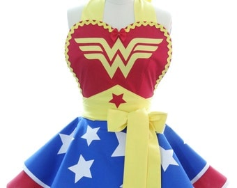 Retro Womans Apron - Wonder Woman Superhero Costume Apron - Kitchen, Hostess, & Cosplay Aprons by BambinoAmore