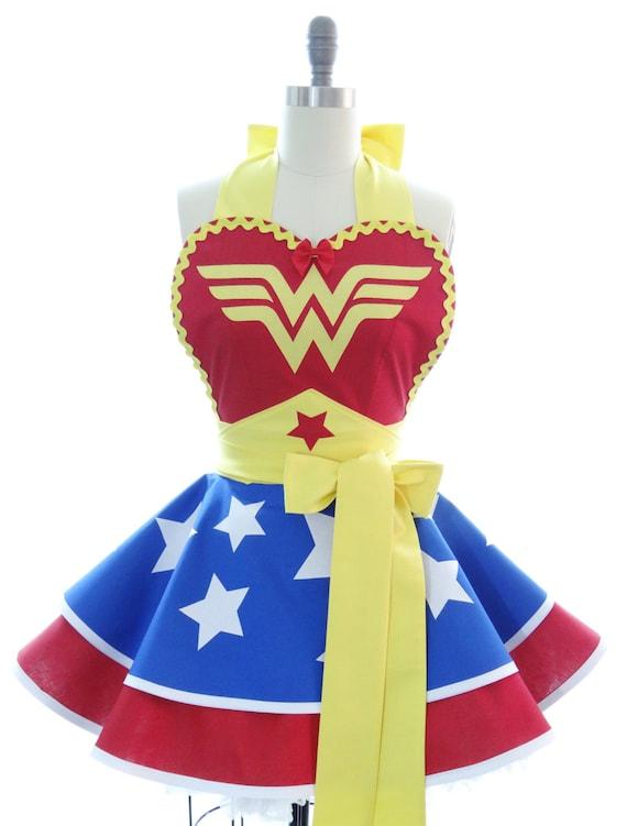 Retro Womens Apron Kitchen Apron Wonder Woman Superhero