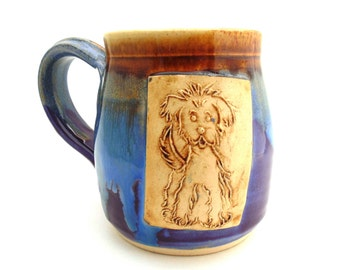 Handmade Pottery Mug Dog Purple Castille Brown ceramics and pottery by Jewel Pottery