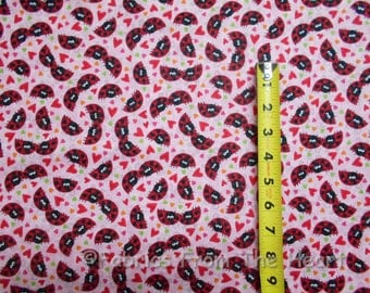 xoxo Garden Red Ladybugs Hearts Love Toss on Pink BY YARDS QT Sew Cotton Fabric