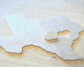 Reserve for Mel, TEXAS Puzzle Wedding Guest Book, 90 Wood Pieces,