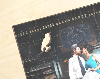 Puzzle Wedding Guest Book, 80 Wood Pieces, Use Your Photo