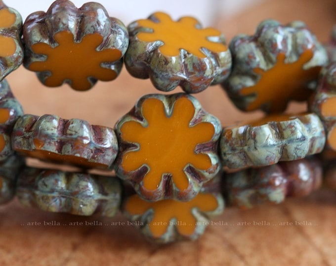 ROASTED BLOOMS .. 10 Premium Picasso Czech Flower Glass Beads 9x3mm (4132-10)