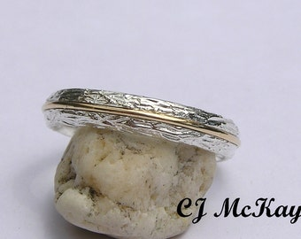Two Tone Wedding Band, Two Tone Wedding Ring, Twig Ring, Tree Bark Ring, Tree Bark Band, Thumb Ring, Silver Band, Silver And Gold Ring,