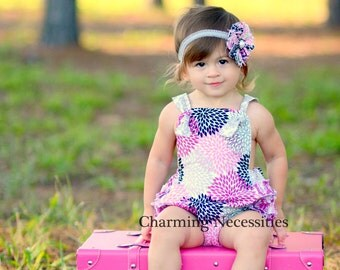 Baby Girl Sunsuit Romper Bubble with Ruffles - Full Bloom Magenta Pink Black Gray by Charming Necessities