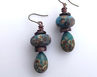 Rustic Earrings, Lampwork Earrings, Teal Turquoise Bead, Wire Wrapped Jewelry, Primitve Jewelry, Bohemian Earrings