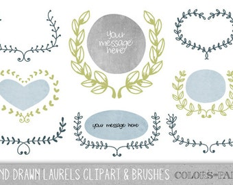 Hand Drawn Laurels Clipart, Brushes & Stamps. 4 Layered PSD files. Personal and Limited Commercial Use.