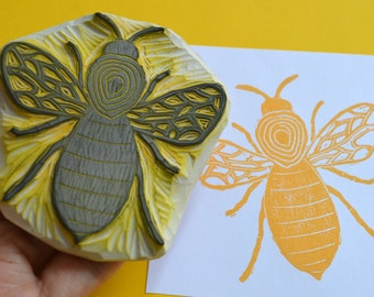 bee hand carved rubber stamp, handmade bee stamp