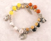Medicine Wheel bracelet with animal charms