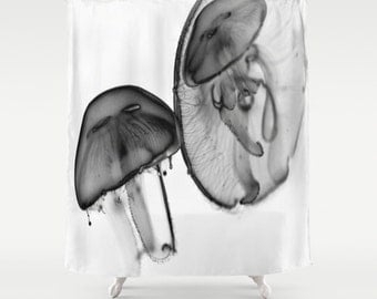 Moon Jellyfish,Shower Curtain,jelly,sea,water,ocean,wet,black,white, bw,minimalistic,modern,home,bathroom,nature,fine art,photography,bath
