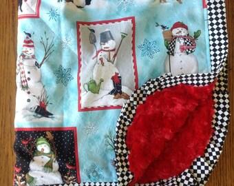 Snowman Christmas Minky Stroller Sized - Medium Blanket - READY TO SHIP