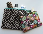 Set of 2 Flat ZIPPER BAGS Brown Circles, Brown, Pink and Aqua Paisley, Zipper Pouches, Make up Bags, Travel Bags