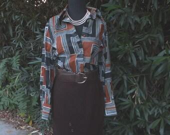 Vintage Wiggle Skirt, 1950s/60s, Brown Wool Pencil Skirt, Cigarette Skirt, Pin Up Skirt, Career Skirt   waist 26