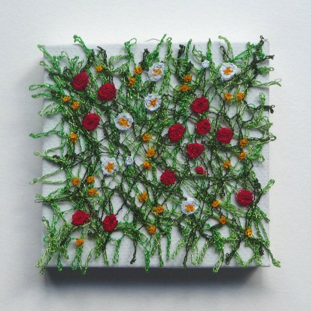 Meadow miniature textile art canvas machine embroidery