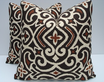 Brown Pillow Covers One Pair 18 x 18 Handmade Brown and Off White Home Decor Throw Pillows Decorative Pillows Accent Pillows Toss Pillowsf
