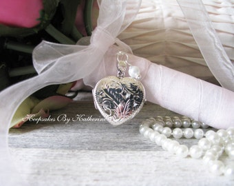 Bouquet Locket, Sterling Silver Locket, Brides Locket, Wedding Keepsake, Elegant Bride, Elegant Wedding, Heirloom