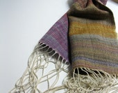 RESERVED FOR MORNA - Handwoven Silk and Wool Scarf: Blueberry Lemon Pie