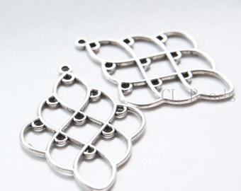8pcs Oxidized Silver Tone Base Metal Multiple Hole Earring Findings-51x35mm (19491Y-G-324)