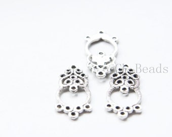 30pcs Oxidized Silver Tone Base Metal Fancy Components - 25x12mm (733Y-E-532)