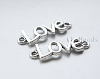 10pcs Oxidized Silver Tone Base Metal Links-Love 36x13mm (17904Y-C-360)