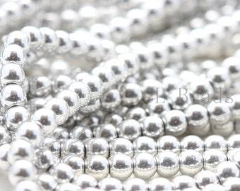 100pcs Czech Pressed Glass Round-Silver 4mm (27000)(B-19-4)