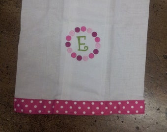 Monogrammed Burp Cloth in Pink Polka Dots