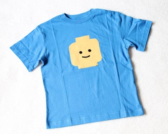 The Legoman T -- Blue T with Appliqued Lego Minifigure - Size 4/5 and 6/7 ready to ship