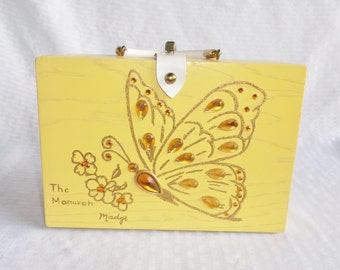 60's 70's Vintage Yellow Wood Box Purse with Jeweled Butterfly The Monarch by Madge