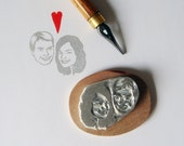 Custom couple portrait / Personalized stamp / handcarved rubber / for bride marriage engagement rustic wedding gift cards save the date