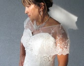Wedding Bridal Party Ivory And Light Pink Lace Capelet