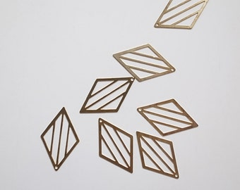 25 Newly made raw brass die cut metal diamond shape lines 26x16mmm