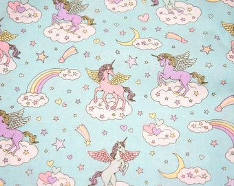 "Unicorn fabric Rainbow and heart Light blue 50 cm by 106 cm or 19.6"" by 41 inch half meter nc12"