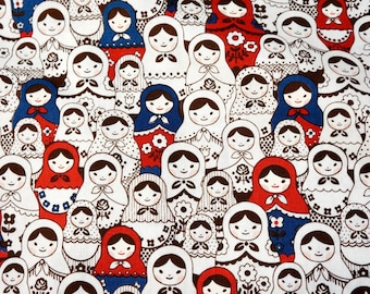 "Matryoshka Fabric Cotton linen 50 cm by 53 cm or 19.6"" by 21"" Fat quarter"