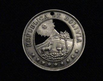 Bolivia - cut coin pendant - w/ alpaca  smiling sun and   mountains - 1939