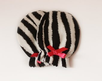 Zebra Stripe Newborn Scratch Mittens