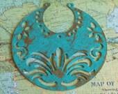 Ethnic pendant, handmade supply, TRELLIS kelly green antique bronze small tribal crescent moons 2 pcs, earring supplies