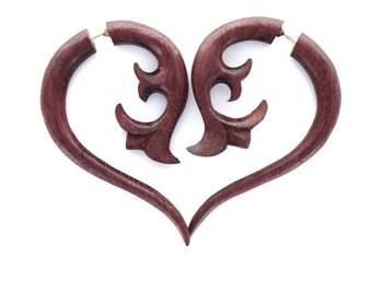 Fake Gauges Earrings,tribal style,hand carved,wood Earrings ,Tribal Expander ,fake piercings,faux gauge