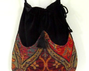 Ethnic Chenille  Boho Bag  Drawstring Bag  Black Velvet Bag  Bohemian Bag  Crossbody Purse