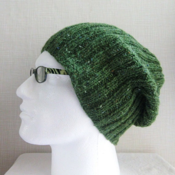 Simple Hat Knitting Pattern In The Round : KNITTING PATTERN/ SEATTLE /Mans Slouch Beanie Knitting