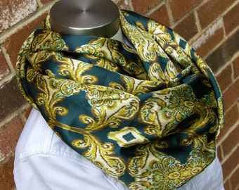 Teal Gold Damask Ikat Lightweight Silky Spring and Summer Infinity Scarf