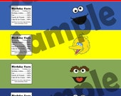 Sesame Street birthday boy water bottle labels for Sesame Street party theme - instant download!