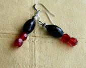 Sparkling Faceted Black Czech Glass and Vintage Siam Red Crystal Earrings with Sterling Silver, Black and Red Earrings, Vintage Crystal Ear