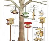 Bird Feeder Print Vintage DIY Book Plate Hopper Feeders Building Bird Feeder Basic Hopper Diagram Birds Around Us John Dawson 1986