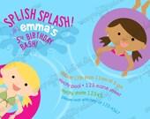 Splish Splash Birthday Bash pool custom birthday party invitation - digital file