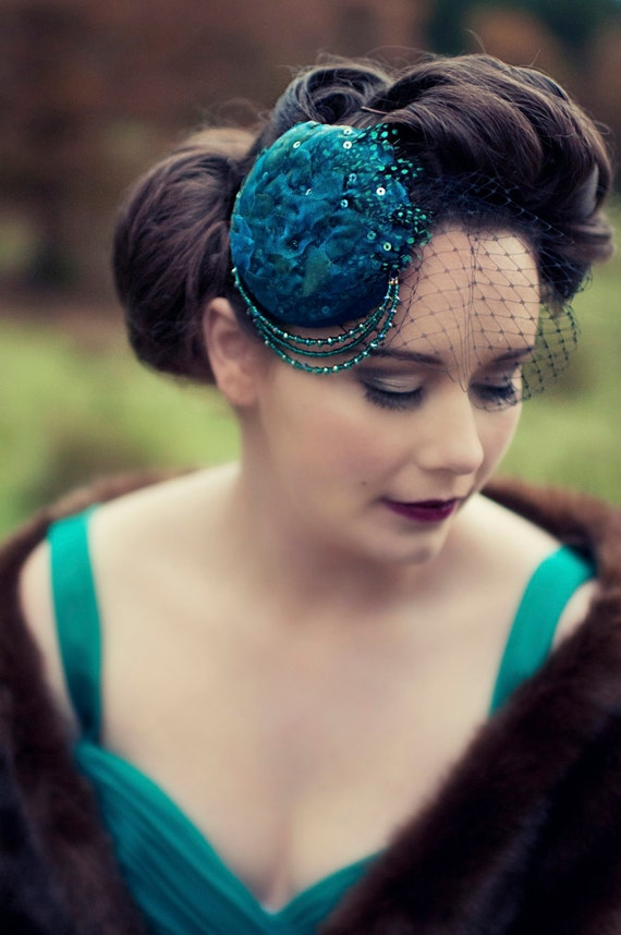 Teal Feather Organza Crystal Hairpiece/Hair Clip/Fascinator