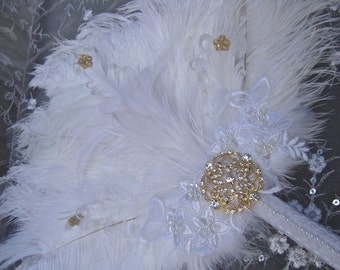 Elegant White Ostrich Bridal Fan Bouquet in your choice of GOLD or SILVER accents